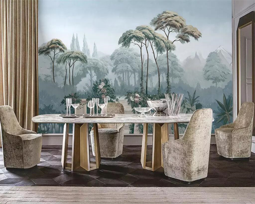 Купить с кэшбэком beibehang Custom wallpaper European garden hand painted medieval tropical jungle TV background bedroom living room 3d wallpaper