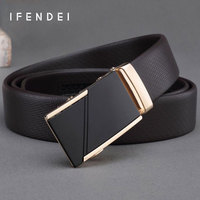 IFENDEI Men S Soft Leather Belt Waist High Quality Alloy Automatic Buckle Business Simple Belt Men