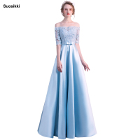 Suosikki Off Shoulder Lace Satin Dress Long Evening Dress 2018 Mother Bride Dresses Vestido Longo Robe Longue Evening Gown