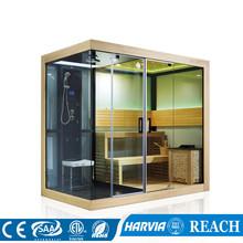 2520*1500*2280mm wolnostojące gorąca sprzedaż suche i mokre sauna parowa połączenie pokój (w M-6032) tanie tanio Pokoje sauny Z pawęży okna 4 osób Z litego drewna Sucha para Haisland African white wood