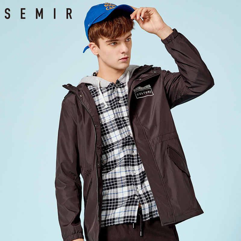 SEMIR куртка для мужчин, уличная спортивная куртка для мужчин, осень 2019, новая индивидуальная молодежная одежда с капюшоном, верхняя одежда, спортивные пальто
