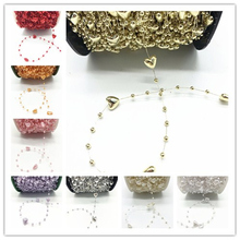 3 yards Fishing Line Artificial Pearls Beads Chain Garland Wedding Party Decoration Brides Headgear 10mm Heart Shape beads DIY