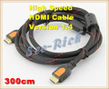 High Speed 4K*2K HDMI Cable / Version 1.4 / 1080P / PC&HDTV cable / Ethernet 3D Ready / Male to Male Cable/ 3M / Free shipping