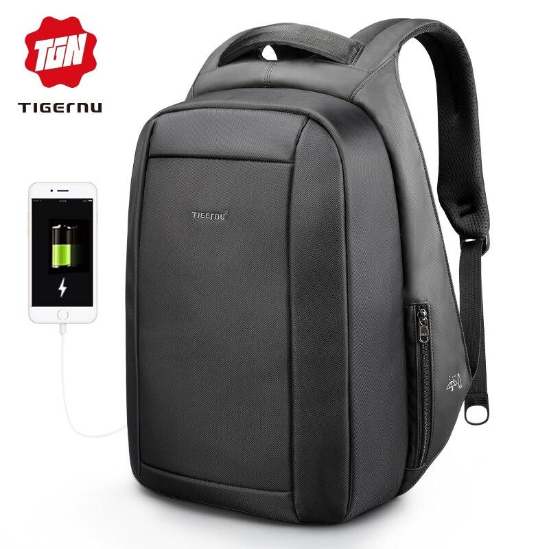 Tigernu водостойкие Anti Theft для мужчин's рюкзаки 15,6 дюймов ноутбука тетрадь USB рюкзак для подростков женщин мужской Mochila