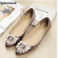 Ladies Casual Boat Shoes Microfiber Soft Sole Ballet Flats Pointed Toe Gold Silver Slip Ons Pointed Toe Rhinestones Plus Size 43