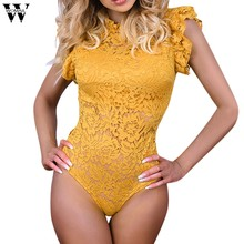 Moda womail mujer Bodysuits de encaje Floral Casual Flare Sexy partido ceñido sin mangas Bodysuits monos para mujer JUNE19(China)