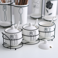 Homaid Kitchen Accessories Creative Hand painted Ceramic Seasoning Jars With Rack Porcelain Spice Storage Bottles White Pots
