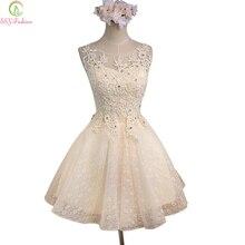 SSYFashion, милое кружевное короткое коктейльное платье без рукавов цвета шампанского, свадебное платье для банкета, платье для выпускного вечера, Robe De Soiree