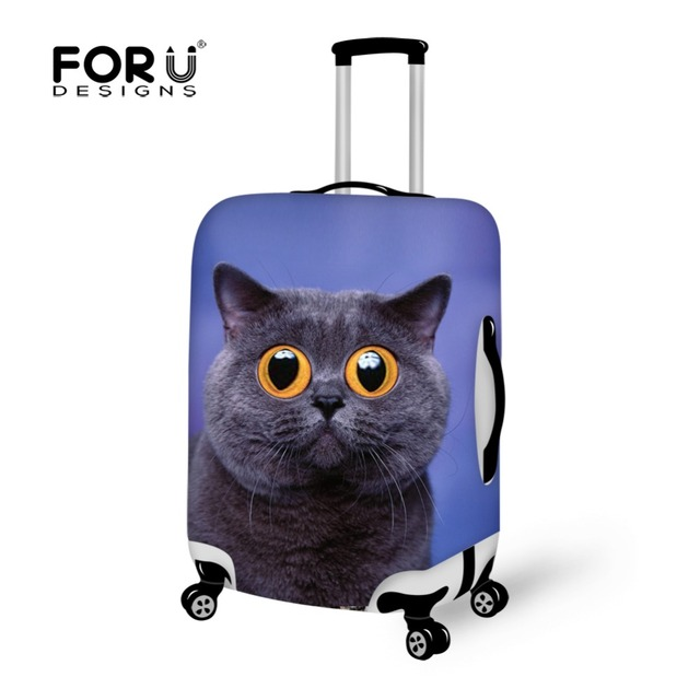 FORUDESIGNS Thick Elastic Luggage Protective Cover With Zipper For 18-30inch Trunk Case Animal Cat Waterproof Travel Case Cover