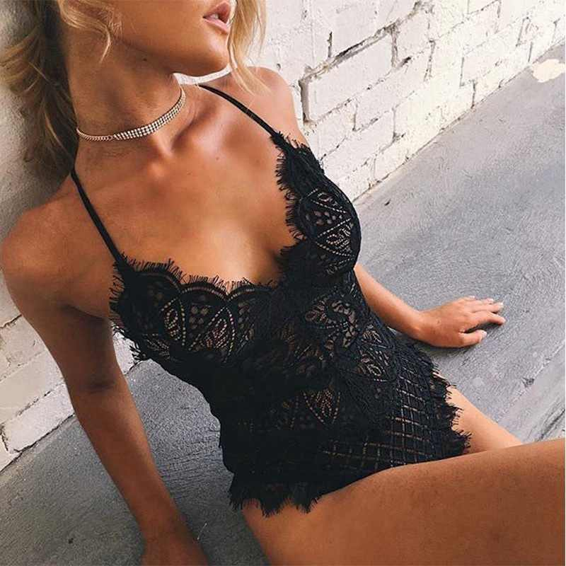 Wanita Sexy Deep V Leher Bulu Mata Renda Body Stocking Lingerie Bodysuit