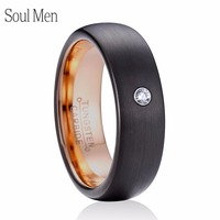 6mm Women S CZ Stone Ring Comfort Fit Men Black With Rose Gold Color Tungsten Wedding