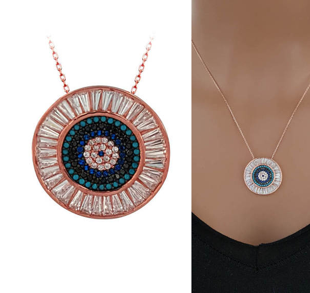 2018 modern jewelry rose gold color AAA cubic zirconia top quality geometric round pendant link chain evil eye disco necklace