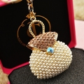 pearl bags metals rhinestone gifts fashion new 2014 trinkets key rings llaveros chaveiros portachiavi key chains for women