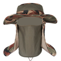 Outdoor insect Proofing Camouflage Bucket Hats Military Mens Fishing hat, Tactical Boonie Hats topee Size 56-59 Camo ear cap
