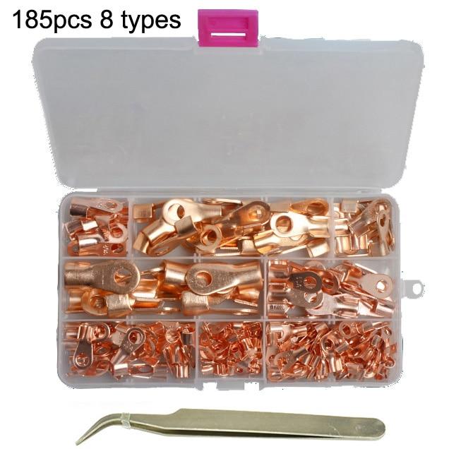 185 Pcs 8 Types OT Open Barrel Copper Ring Lug Teriminal Assortment Kit w//Box