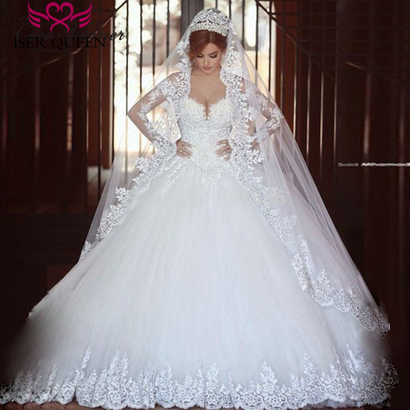Long Sleeve Illusion Sheer Neck Arabic Wedding Dress Ball Gown Embroider Appliques Pearls Beads Plus Size