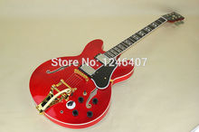 Classic half hollow jazz electric guitar Bigsby wine red instruments free shipping