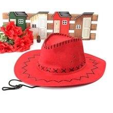 Ретро унисекс джинсовая дикая западная ковбойская Родео нарядное платье аксессуар Шляпы красный
