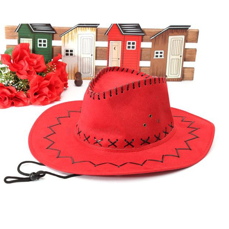 Retro <font><b>Unisex</b></font> Denim Wild West <font><b>Cowboy</b></font> Cowgirl Rodeo Fancy Dress Accessory <font><b>Hats</b></font> red image