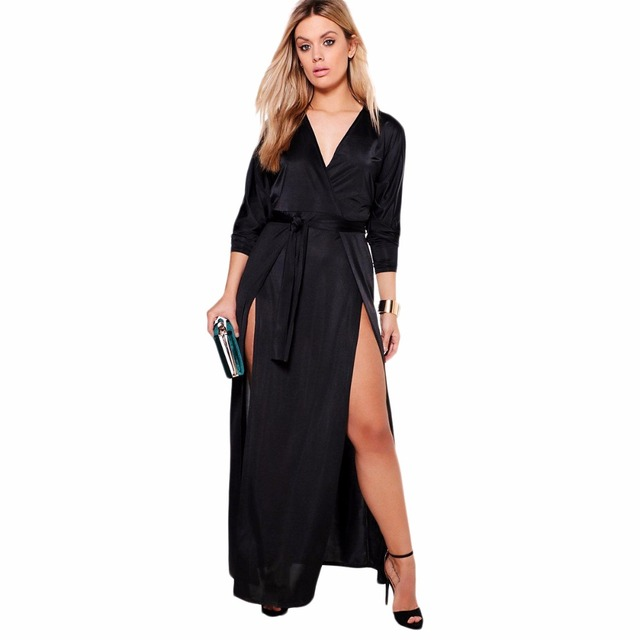 f557f3cdacb Plus size black pink long sleeve double slit wrap maxi dresses for women  ladies oversize elegant sexy high waist party dresses