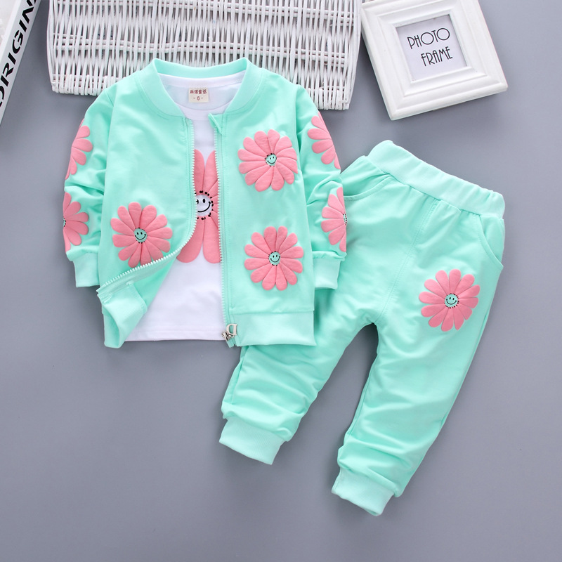 Bibicola baby girls clothing sets fashion kids girl t-shirt + coat +pant 3pcs sets children casual sport suits girl clothes suit fashion baby girl t shirt set cotton heart print shirt hole denim cropped trousers casual polka dot children clothing set