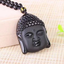 Natural Black Obsidian Carved Buddha Head Pendant with Bead Lucky Amulet Necklace For Men Women Pendants Jewelry(China)
