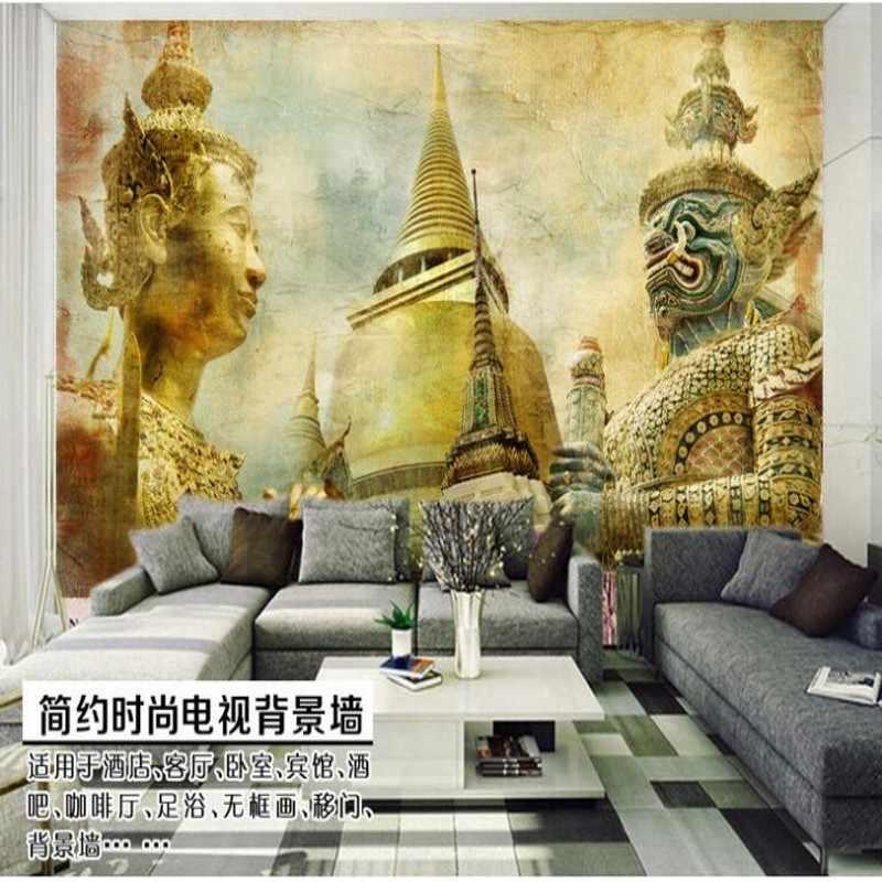 Beibehang Kustom Besar Fresco Gaya India Nostalgia Klasik TV Latar Belakang Wallpaper Non Woven Papel De Parede untuk Quarto