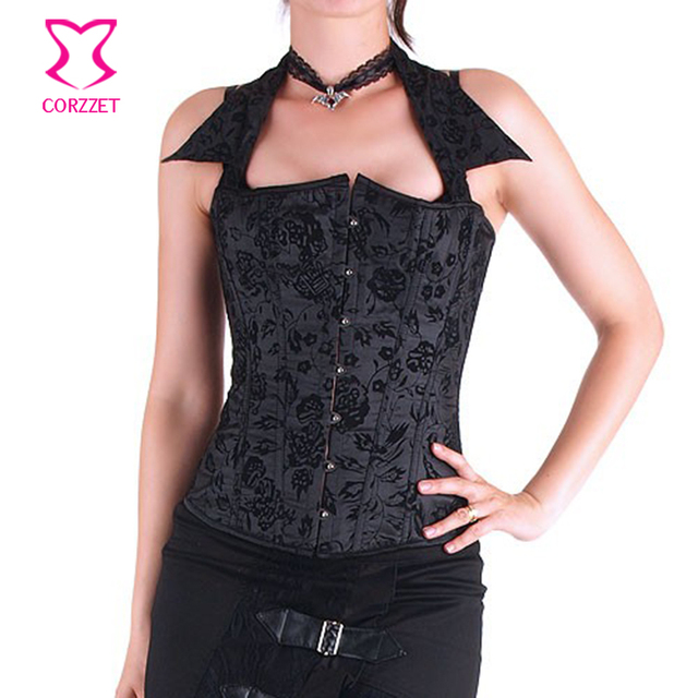 Black Floral Flocking Halter Collar Gothic Overbust Corset Top Steampunk Clothing Corpetes E Espartilhos Sexy Korsett For Women