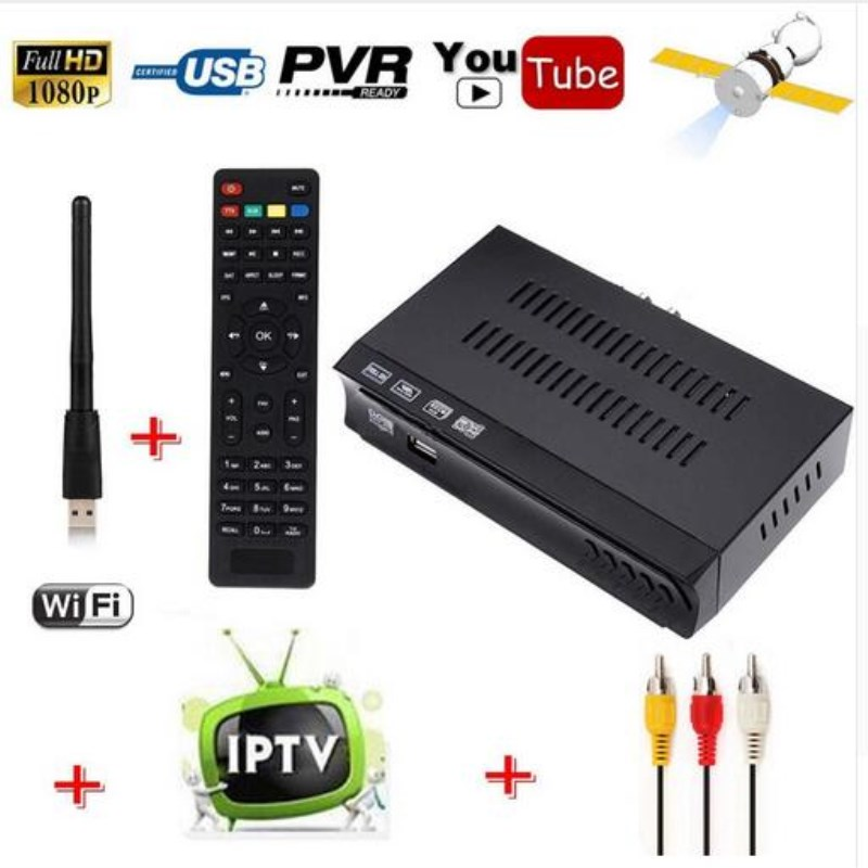 Vmade HD DVB-S2 Satellite Receiver+USB WiFi Dongle Adapter  Antenna Support IPTV Youtube Biss Key Cccamd Newcamd Set Top Box