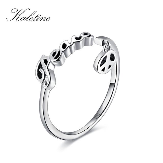 Kaletine 925 Sterling Silver Ring Love Peace Symbol Open Adjustable