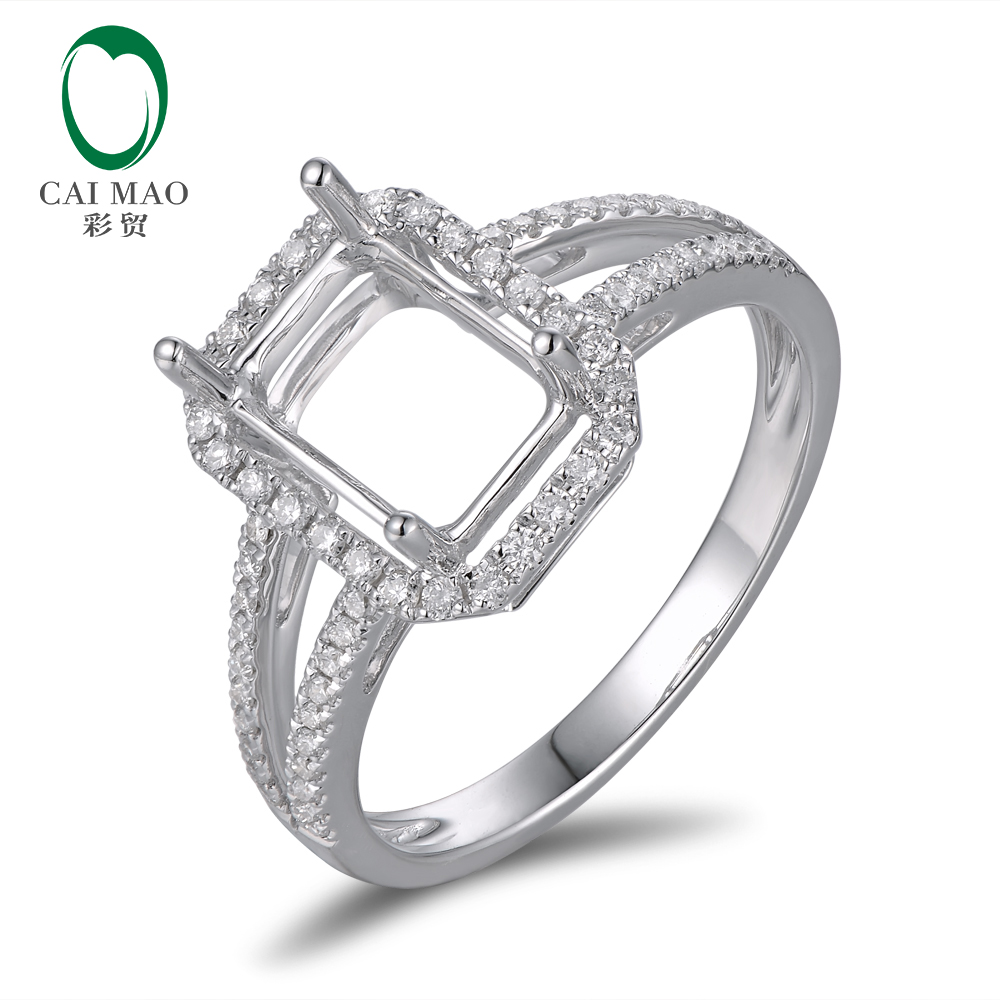 Anniverary 14K White Gold Natural 0.37ct Diamond Engagement Ring Jewelry Semi Mount 8x6mm Emerald Cut Setting yoursfs 18k white gold plated austria crystal soliraire anniverary rings with princess cut