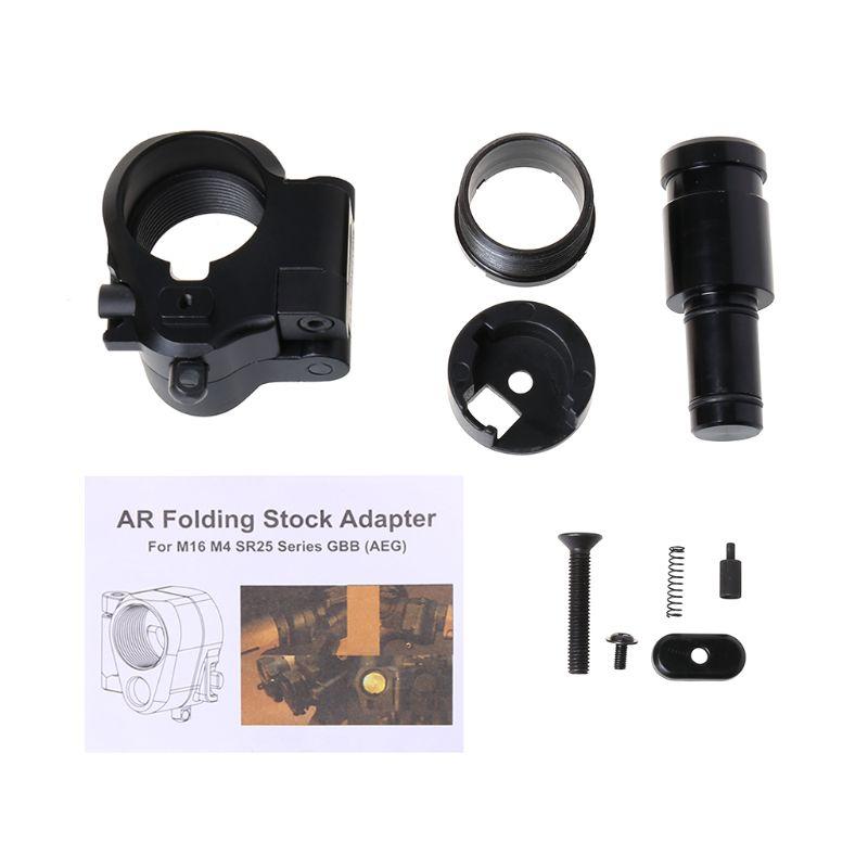 1 Set adaptateur de Stock pliant en alliage d'aluminium tactique Airsoft matériel de fixation vis boulon AR accessoires de chasse W20