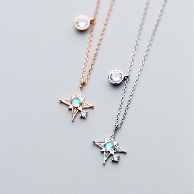 Korea Star Necklace 925 Silver Choker Kolye Gold Pendant Charm Minimalism Vintage Boho Bijoux Femme Collier Necklace for Women
