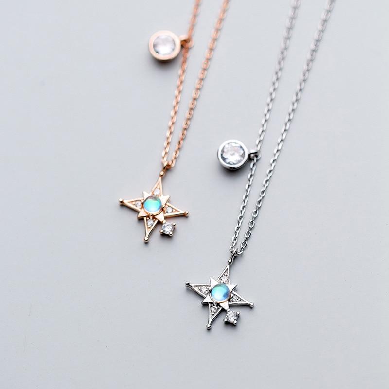 Korea Star Necklace 925 Silver Choker Kolye Gold Pendant Charm Minimalism Vintage Boho Bijoux Femme Collier Necklace for Women