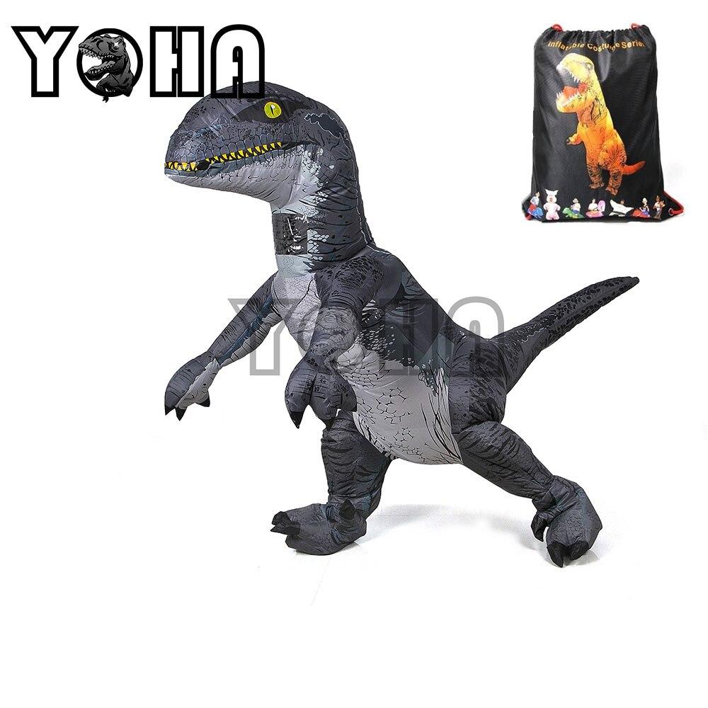 Jurassic World 2 Park Hot Adult Inflatable Velociraptor Costume Halloween Dinosaur T REX Costume For Men Fancy Dress Cosplay wit