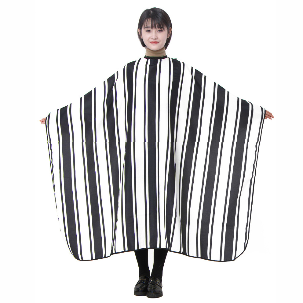 Retro Wide & Narrow Vertical Stripes Hair Apron Hairdressing Cape Styling Wrap Gown Cover Customer Cloth Hairdresser Tool U1224