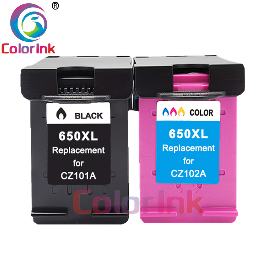 ColorInk 2pack 650XL 650 inkjet cartridge for <font><b>HP</b></font> 650XL For <font><b>HP</b></font> Deskjet 1015 2515 2545 2645 <font><b>3515</b></font> 3545 4515 4625 printer image