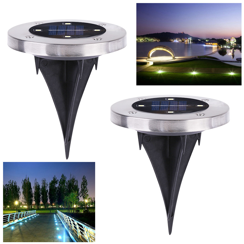 Solar Powered Ground Light Outdoor Waterproof Garden Pathway Buried Lamps With 4 LEDs Solar Lamp for Home Garden Lawn Yard Road ip65 waterproof 8 led solar outdoor ground lamp landscape lawn yard stair underground buried night light home garden decoration