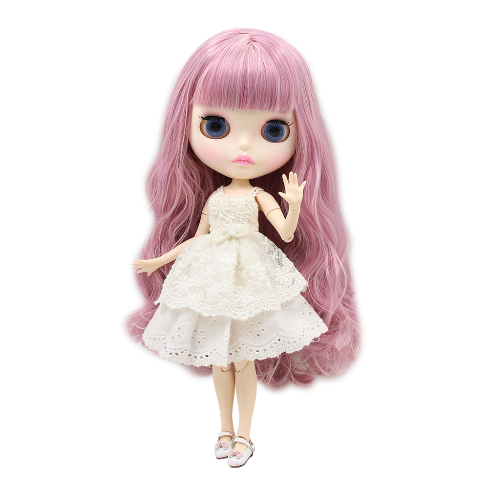 Blyth nude doll 30cm white skin Cute dreamy mixed color pink curls 1 6 JOINT body