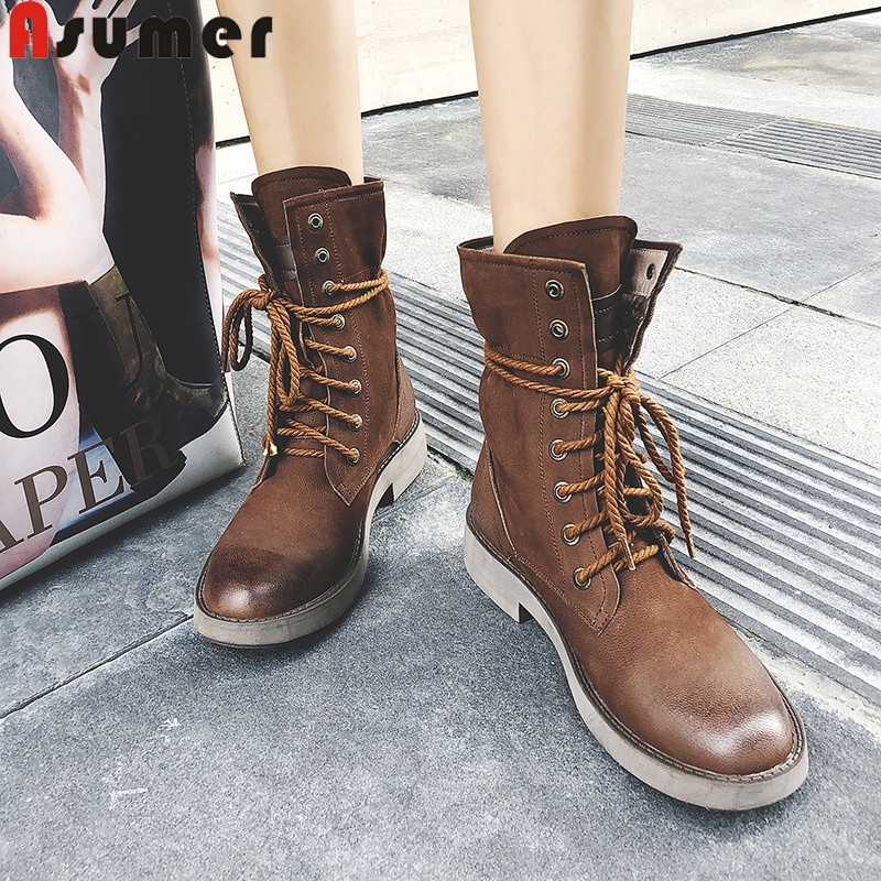 ASUMER 2019 new ankle boots for women round toe lace up cross tied square low heels genuine leather boots autumn winter bootsASUMER 2019 new ankle boots for women round toe lace up cross tied square low heels genuine leather boots autumn winter boots