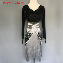 Frauen/GirlsLatin Dance Kostüme Custom Diamant Perlen Quaste Kleid lange ärmel Latin Dance Bühne Leistung Kleidung