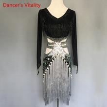 Kobiety/dziewczęta kostiumy do tańca Latin spersonalizowany diament zroszony sukienka z frędzlami z długimi rękawami odzież sceniczna do tańca latynoskiego