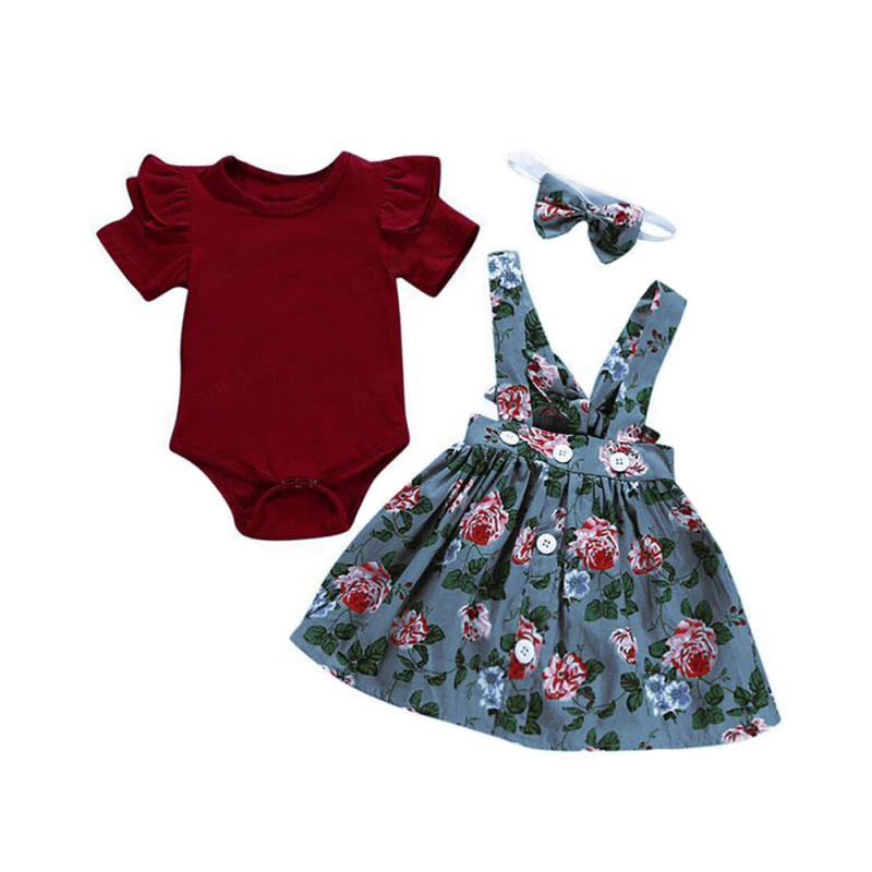Autumn Baby Girl Clothes Sets for Newborns Girls Clothing Set Bodysuit Romper Skirt Floral Print with Headband 3Pcs Baby Clothes