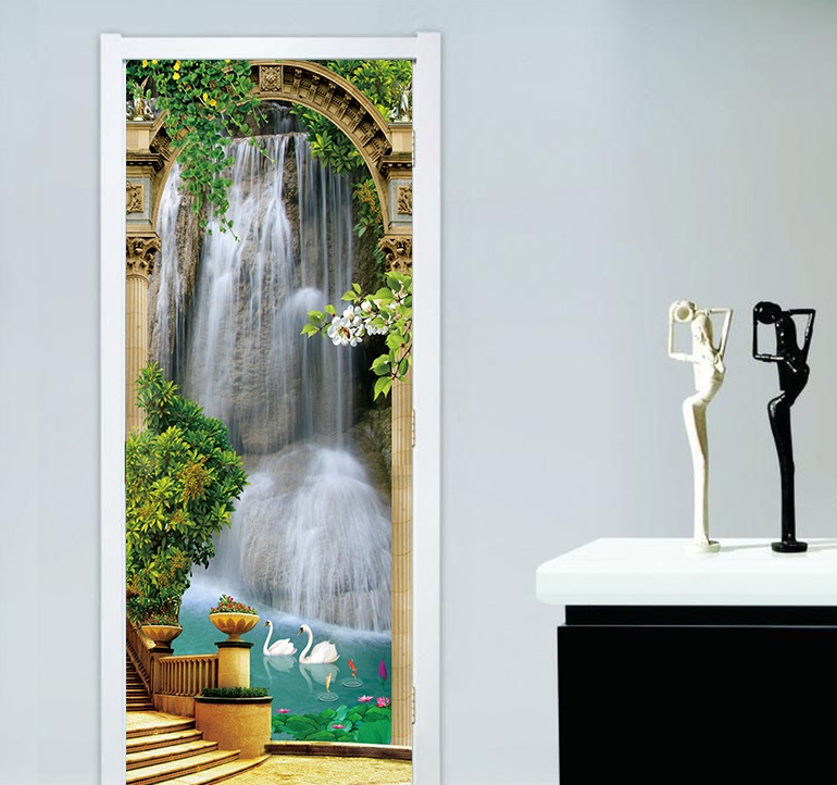 Scenic Door Murals Forest Wall Mural Door Decals Door Wall Sticker Waterfall Mural Door Wall Stickers Wallpaper Mural DIY Home-in Wall Stickers from Home & Garden
