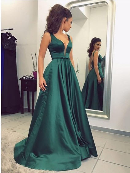A-Line Satin V-Neck Long Elegant   Prom     Dress   Sweep Train Abiti da cerimonia donna Formal   Dress   Women