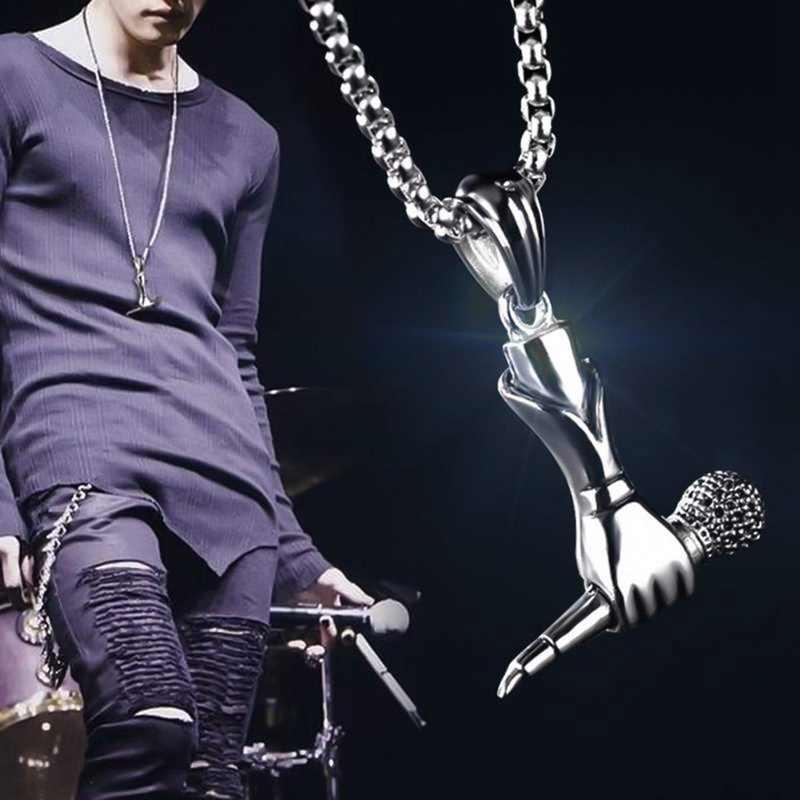 2019 Музыка Мини ожерелье с микрофоном женское длинное ожерелье мужчины рок-певец Микрофон Подвески из нержавеющей стали ожерелье s ювелирные изделия