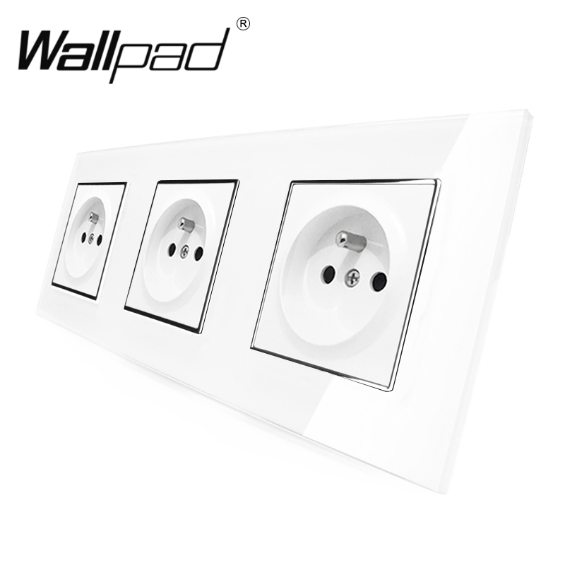Best 3 French Socket Wallpad Luxury White Crystal Glass Triple Frame 16A Plug EU French Standard Wall Socket with Claws MountingBest 3 French Socket Wallpad Luxury White Crystal Glass Triple Frame 16A Plug EU French Standard Wall Socket with Claws Mounting