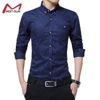 Бархатное утепленное Для мужчин рубашка Smart Повседневное отложным воротником с длинными рукавами, 100% хлопок геометрический узор Мужская од...