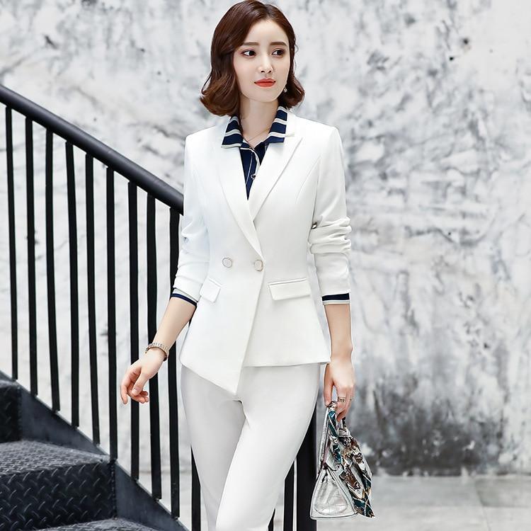 2019 Formale Elegante Frauen Blazer Hosen Anzüge Büro Damen Dame Hosen Und Jacke Anzug 2 3 4 Stück Hose Anzüge Set Für Frauen