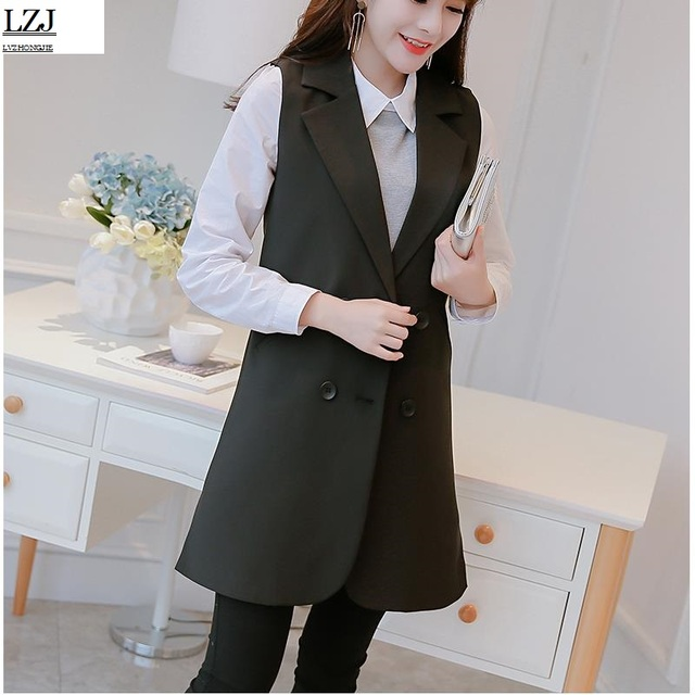 15def9f65 US $13.98 20% OFF|LZJ Fashion Sleeveless Jackets Vests For Women Black 2017  Office Lady Elegant Long Outerwear Casual brand colete feminino S XXL-in ...